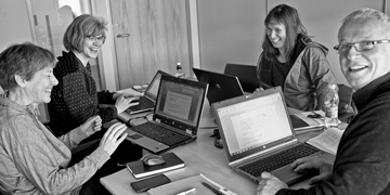 Connie Lovejoy, Cecile von Quilfeldt, Bodil Bluhm and Michel Poulin, CBMP Plankton and Sea ice biota Expert Network members, drafting their SAMBR chapters. Photo: Fernando Ugarte