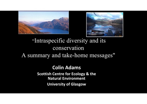 The significance of intraspecific diversity and its conservation: Colin Adams