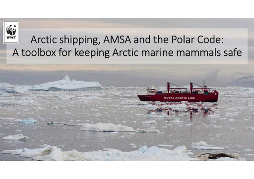 Arctic shipping, AMSA and the Polar Code: a toolbox for keeping Arctic marine mammals safe: Melanie Lancaster