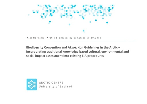Biodiversity Convention and Akwé: Kon Guidelines in the Arctic – Incorporating traditional knowledge based cultural, environmental and social impact assessment into existing EIA procedures: Assi Harkoma