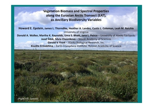 Biodiversity, phytomass, and vegetation indices along arctic tundra temperature gradients: Howard E. Epstein
