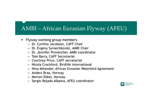 AMBI work in the African-Eurasian Flyway, habitat protection: Anders Braa