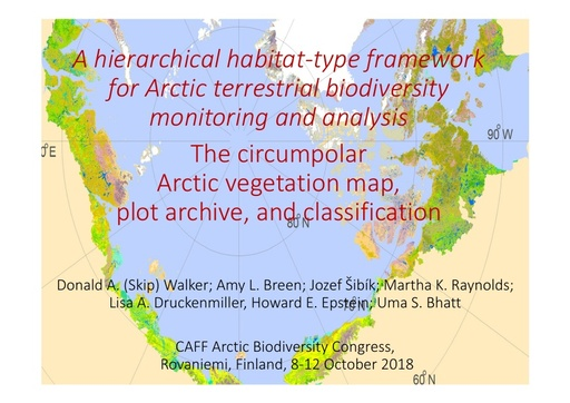 Circumpolar arctic vegetation mapping, plot-data archive, classification, and transects: A framework for examining arctic terrestrial change: Donald A. Walker
