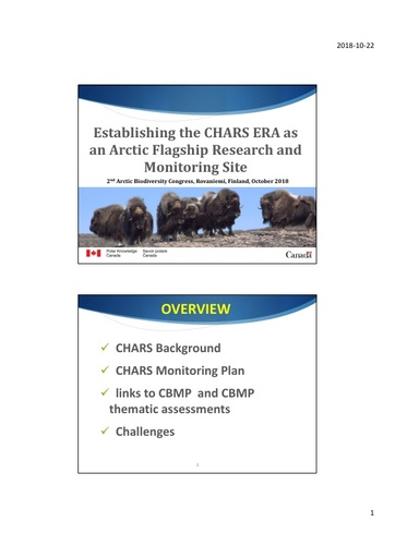 Establishing CHARS as an Arctic Flagship Research and Monitoring Site – Design and Implementation of the CHARS Terrestrial Monitoring Program: Donald McLennan